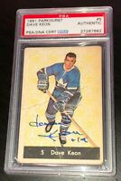 DAVE KEON SIGNED 1961 PARKHURST TORONTO MAPLE LEAFS ROOKIE CARD PSA/DNA 27267682