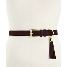 New STYLE & CO Stylish Womens Faux Suede Skinny Pant Belt W/ Tassel Large Brown