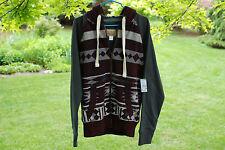 NEW Roebuck & Co Heritage Apparel Maroon Gray Aztec Sherpa Lined Hoodie S NWT