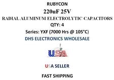 Rubycon 220uF 25V Aluminum Electrolytic Radial Capacitors -40 to+105c QTY: 4