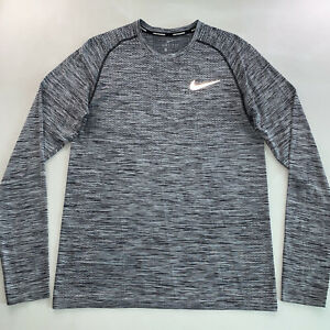 Men's Nike Running Logo Dri-Fit Long Sleeve Tee Shirt Gray Size Medium NEW
