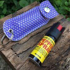 Personal Pepper Spray 18% Self Defense Mase 1/2 oz Keychain Purple Bling Case-M