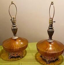 Pair Mid Century Vintage Hollywood Regency Amber Optic Globe Table Lamps