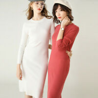 Women's Slim Knitted Cashmere Jumper Pullover Elasticity cozy Sweater Dress