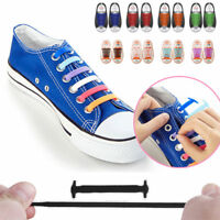 Easy No Tie Silicon Elastic Shoe Laces Colored Trainers Snickers Kids + Adults