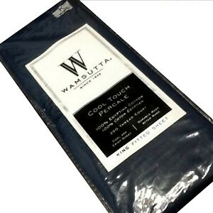 New NAVY Wamsutta Cool Touch Percale 350 TC 100% Cotton KING FITTED Sheet