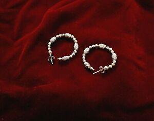 "OFFICINA BERNARDI - OB, Designer Earrings, Stunning Diamond Cut, Hoop 1"" Round."
