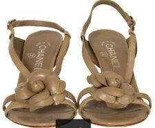 Chanel Taupe Flower Sandals heels shoes EU 37 UK4