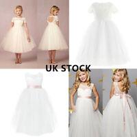 UK Wedding Flower Girl Dress Kids Princess Bridesmaid Lace Party Formal Dresses
