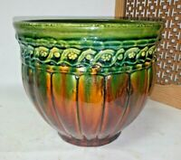 ANTIQUE UNMARKED WELLER POTTERY GREEN BROWN VASE PLANTER