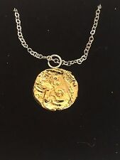 """Teinovantes stater Coin WC64 Gold Pewter On a 16"""" Silver Plated Chain Necklace"""