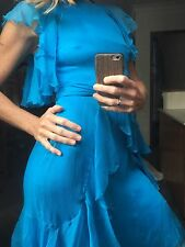 Collette Dinnigan Vintage 100% Silk Chiffon Blue Ruffle Dress Mint S 10