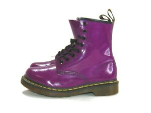 Dr. Martens Boots Purple Smooth Leather 8 Eye Air Cushioned Sole 1460 Womens 6