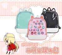 Two Dimensions Cat Ears Transparent Showing Backpacks Women Shoulder Bags