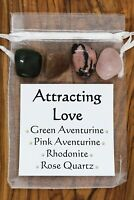 Attracting Love Crystal Set 1 Rose Quartz Green Pink Aventurine Rhodonite