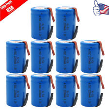 10pcs NiCd 4/5 SC Sub C 1.2V 2200mAh Rechargeable Battery With Tab 34MM Height