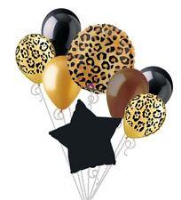 8 Pc Cheetah Leopard Print Balloon Bouquet Set Happy Birthday Baby Shower Animal