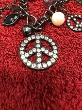 Peace Sign Charm Necklace With Assorted Peace Sign Charms