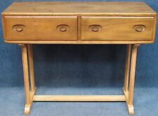 Early Ercol Elm And Beech Windsor 2 Drawer Dressing Hall Table In Light Finish