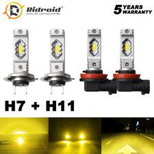 2set Yellow H11 + H7 LED Headlight High Low Beam Combo Bulb Conversino Kit 3000K