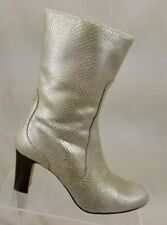 Cole Haan Harper Womens Boots Gold Faux Snakeskin Leather Side Zipper Sz 7.5 B