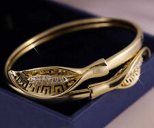 14K Yellow Gold GF Solid Filligree Bracelet BANGLE w/ Simulated Diamond gf