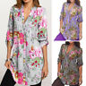 Women's Vintage Floral Print V-neck Tunic Tops Swing Oversize Plus Size Blouse L