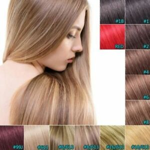 """Fashion 100g 18""""20''22'' 70g Clip In WEFT Remy Human Hair Extensions Full Head"""