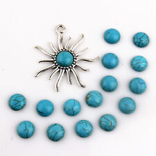 20Pcs Round Gemstone Flat Blue Turquoise Handmade Cabochons 12mm Jewelry Making