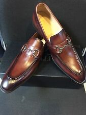 NEW CARRUCCI Men's Brown Dress Leather Bit Loafer Slip On Shoes  Size 12