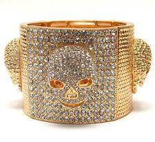 Skull BRACELET JEWELRY Crystal Pave stretch bangle Bracelet GOLD