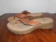 Cato Women's sandals flip flops size 9, brown, buckle, rubber heel padded soft