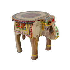 Hand Painted Elephant Table Natural Wood Small Side Animal Fair Trade