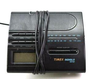 Timex Indiglo Alarm Clock T422B Night Light AM/FM Radio Black Nightstand