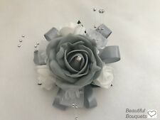 Wedding bouquets flowers Silver grey diamante Prom Wrist Corsage  bridesmaids