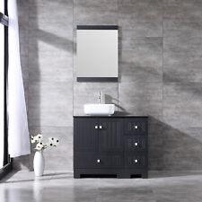 "36"" Single Bathroom Vanity Pvc Cabinet Ceramic Sink Set w/Black Glass Countertop"