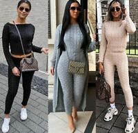 Womens Ladies Cable Knitted Co ord 2PCS Top Bottom Loungewear Suit Tracksuit Set
