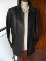 Ladies M&S brown real leather JACKET BLAZER COAT UK 14 12 hip length long line