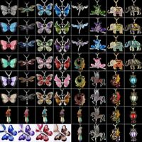 Fashion Women Crystal Butterfly Horse Elephant Animal Pendant Necklace Jewelry