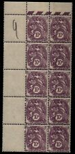 Bloc de 10 BLANC 10c violet, Neufs ** = Cote 80 € / Lot Timbres France 233