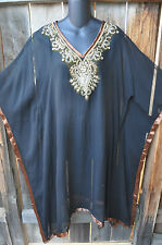 ART TO WEAR FLOWING PONCHO STYLE HAND BEADED TUNIC IN BLACK WITH GOLD, MED+!