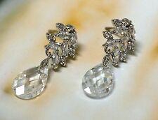 18K GP White Gold AAA CZ Cubic Zirconia Flora Drop/Pear Shaped Drop Earrings