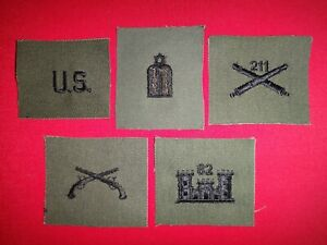 5 US Army Patches: us ENLISTED, JEWISH CHAPLAIN, FIELD ARTY 211, MP, And ENG 82
