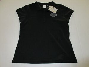 Women's Harley Davidson Polo T-Shirt Black Size Medium **NEW**