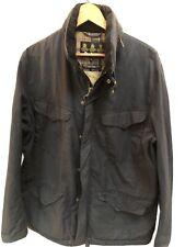 Mens Barbour Wax Hardwick Jacket Concealed Hood Grey Outdoor Coat Size XL