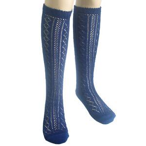 3 Pairs School Girls Knee High Cotton Socks Black White Grey Navy Blue