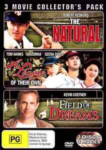 THE NATURAL / A LEAGUE OF THEIR OWN / FIELD OF DREAMS (3 DVD) Collection ***