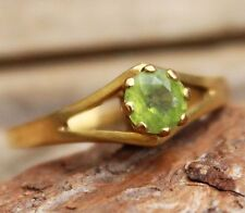 Vintage 9ct Gold Ring Jewellery Peridot Solitaire Ladies Jewelry 9k Yellow Carat