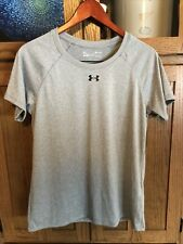 Under Armour Women's Ua Graphic Lc Logo Short Sleeve Crew Medium Grey Nwot