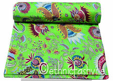 Cotton Green Paisley Indian Hand Block Print Sewing Material Craft By The Yard